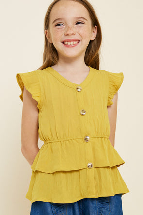 Honey Button-Down Tiered Ruffle Hem Top Front
