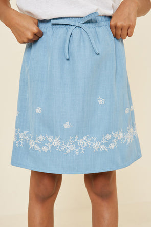 Floral Embroidered Chambray Skirt