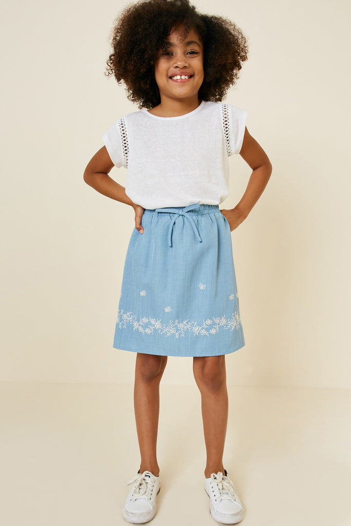 G7546-DENIM Floral Embroidered Chambray Skirt Alternate Angle