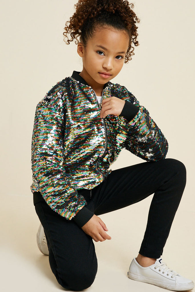 G7620-SILVER MIX Multi-Color Sequin Bomber Jacket Front