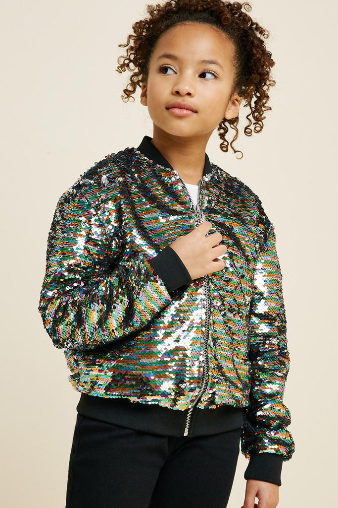 G7620-SILVER MIX Multi-Color Sequin Bomber Jacket Alternate Angle
