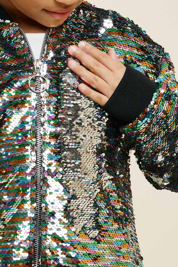 G7620-SILVER MIX Multi-Color Sequin Bomber Jacket Detail