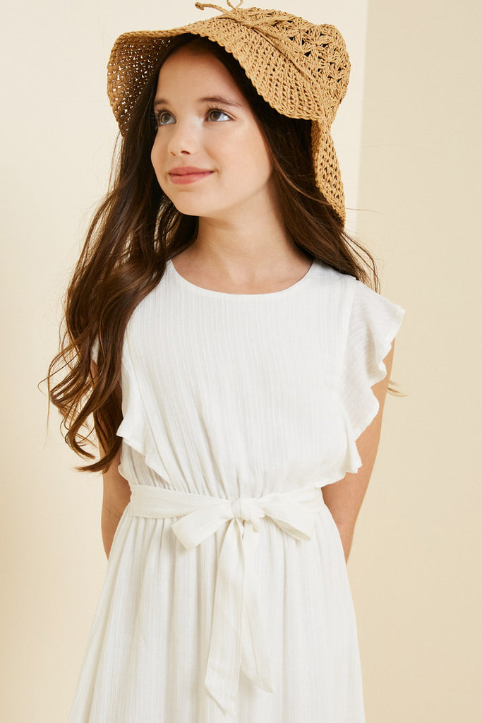G7667-OFF WHITE Belted Ruffle Sleeve Maxi Dress Front