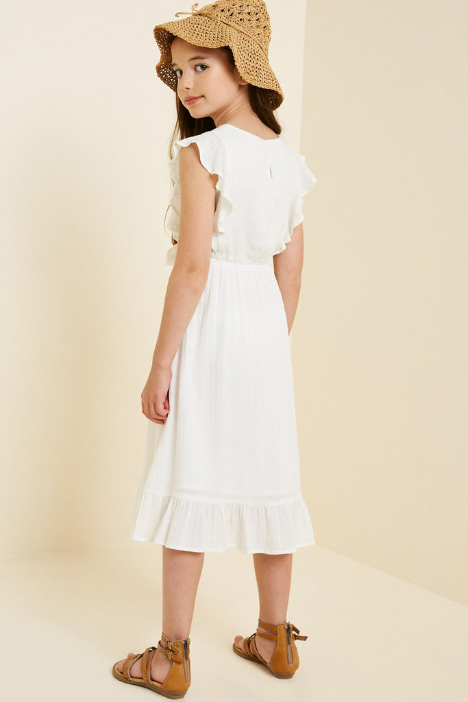 G7667-OFF WHITE Belted Ruffle Sleeve Maxi Dress Back
