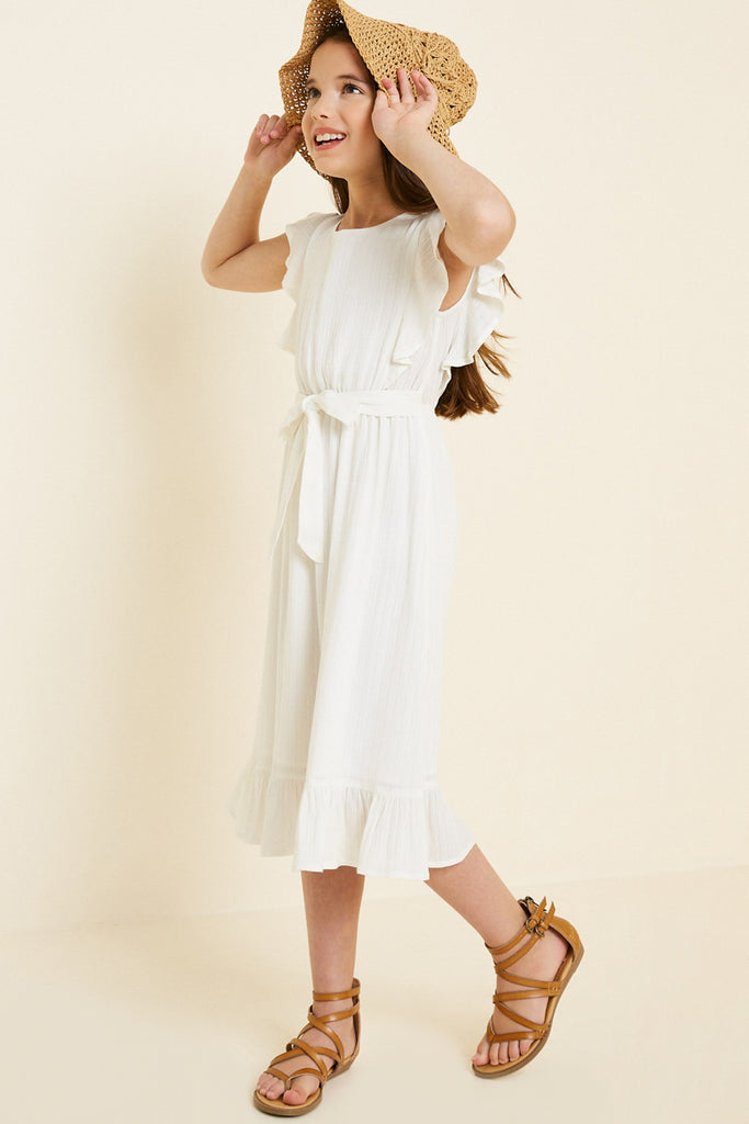 G7667-OFF WHITE Belted Ruffle Sleeve Maxi Dress Alternate Angle