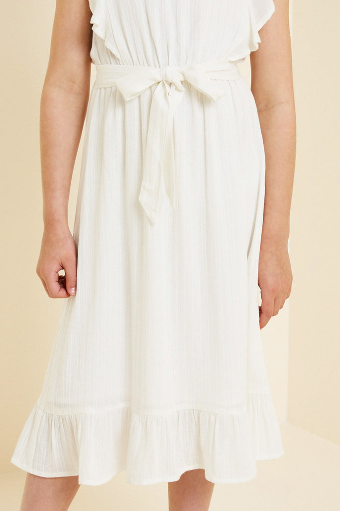 G7667-OFF WHITE Belted Ruffle Sleeve Maxi Dress Front Detail