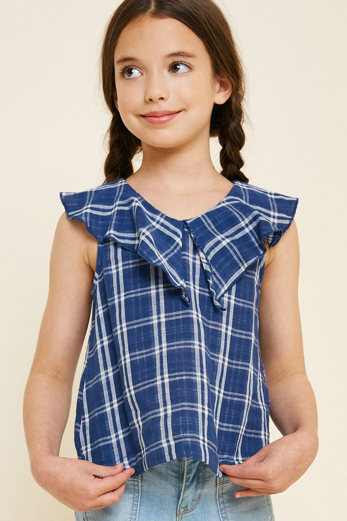 G7808-NAVY Plaid Ruffle Collar Tank Front