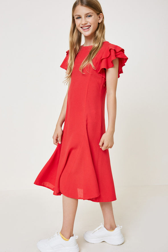 Red Ruffle Sleeve Midi Dress Front