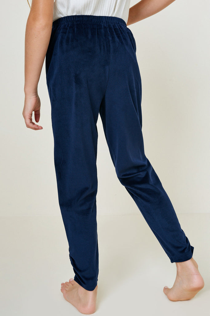 G7979-NAVY Velour Joggers Back