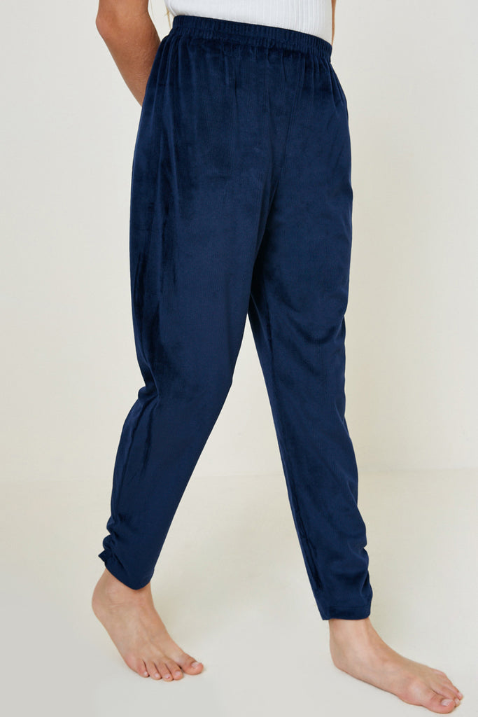 G7979-NAVY Velour Joggers Alternate Angle