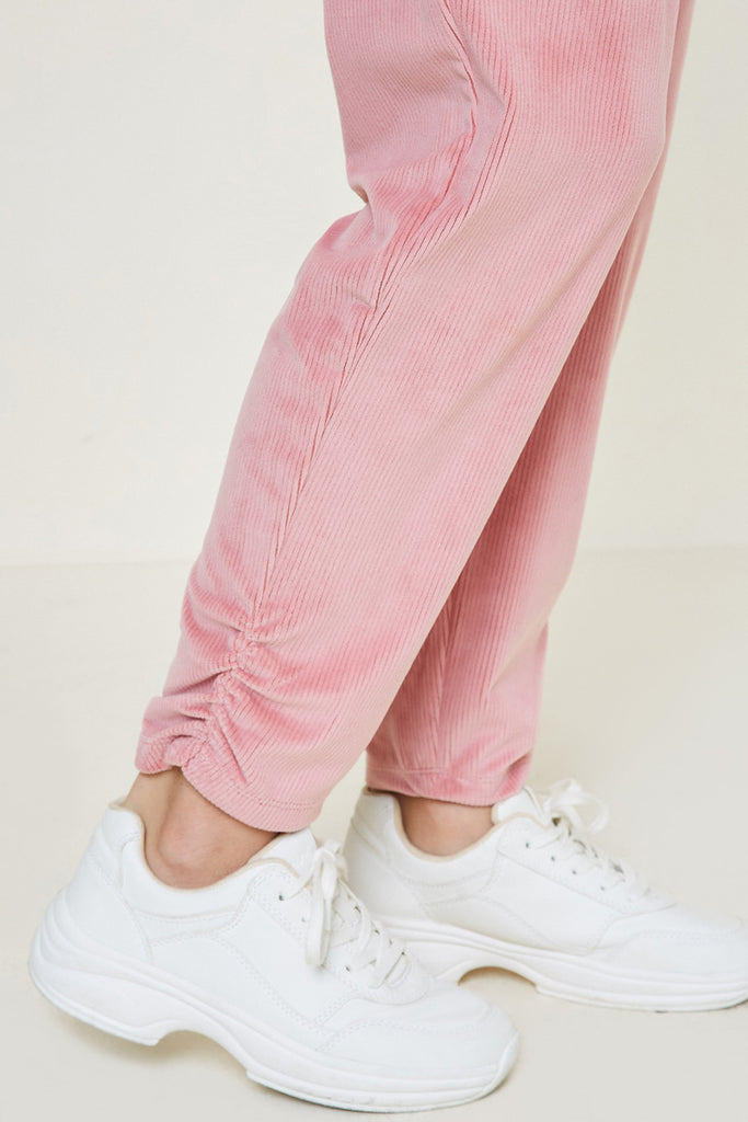 G7979-PINK Velour Joggers Side Detail