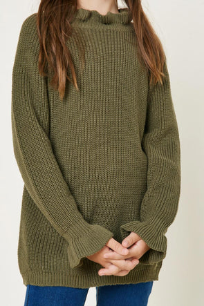 Olive High Neck Ruffle Sweater Full