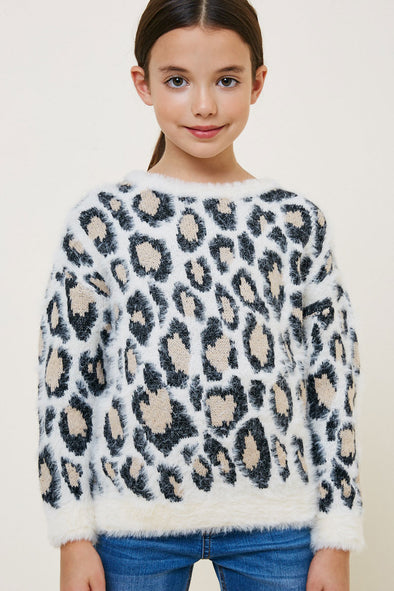 Ivory Leopard Mohair Pullover Sweater Front