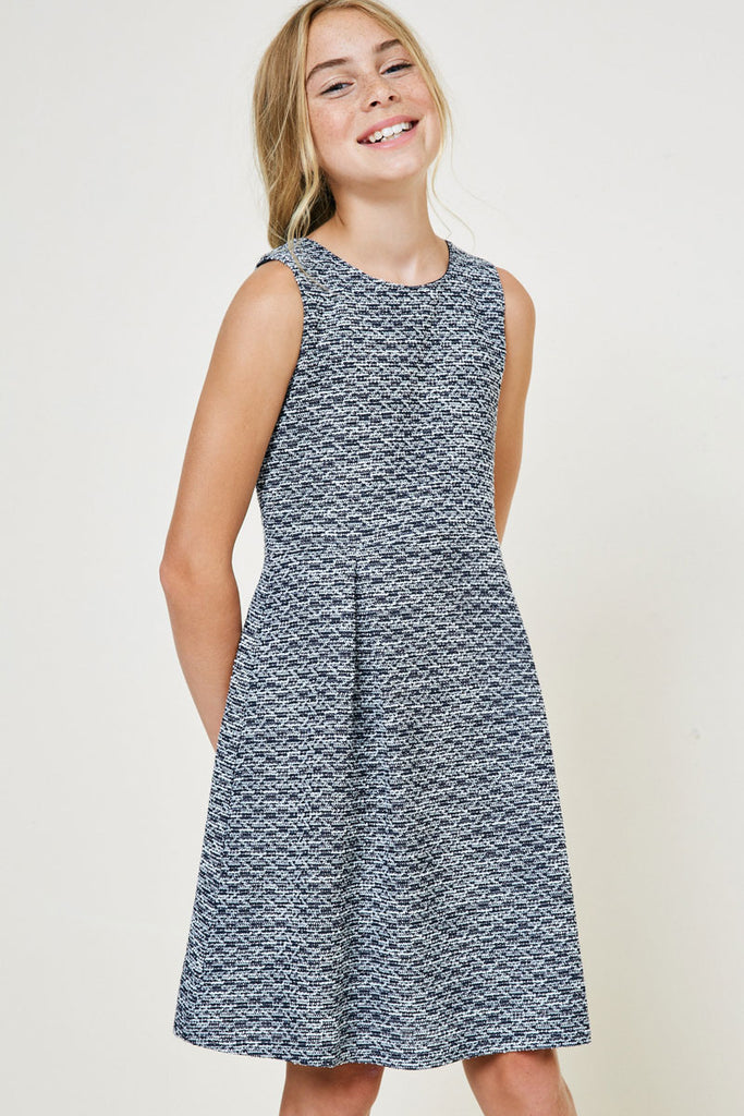 Navy Tweed Babydoll Dress front