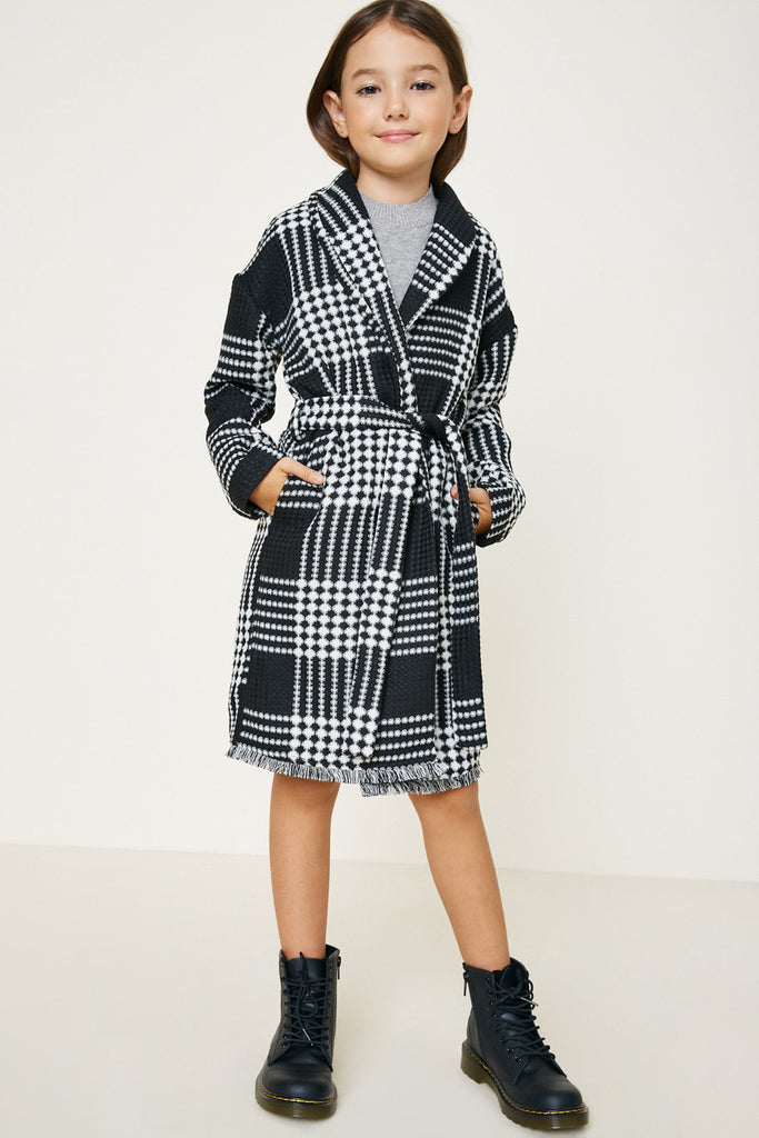 Black Plaid Knit Duster Coat Side