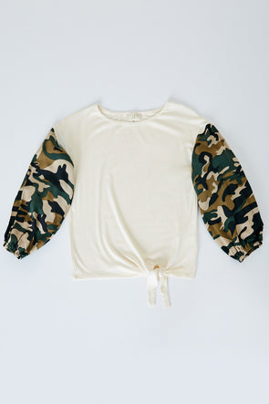 Camo Sleeve Top almond front