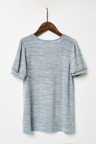G8249-GREY Knit V-Neck T-Shirt Back