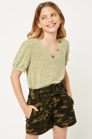 Sage Knit V-Neck Top Front
