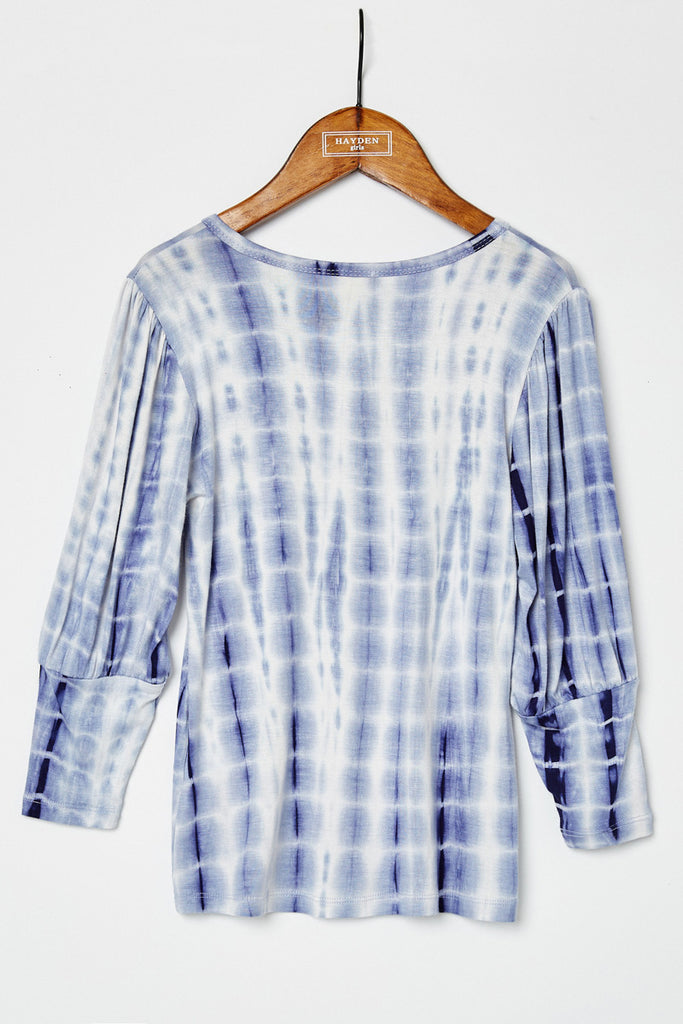 G8255-BLUE Tie Dye Banded Cuff Top Back