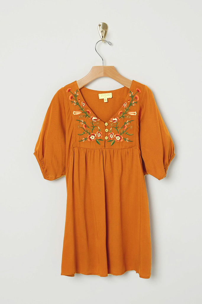 G8281 RUST Floral Embroidered Shift Dress Front Flat