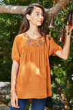G8281 RUST Floral Embroidered Shift Dress Full Editorial
