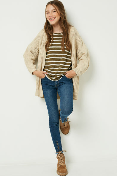 Cream Knit Cardigan Sweater Front
