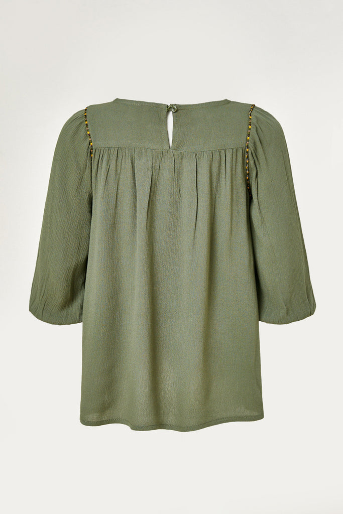 G9080-OLIVE Lace Trim Puff Sleeve Tunic Top Back
