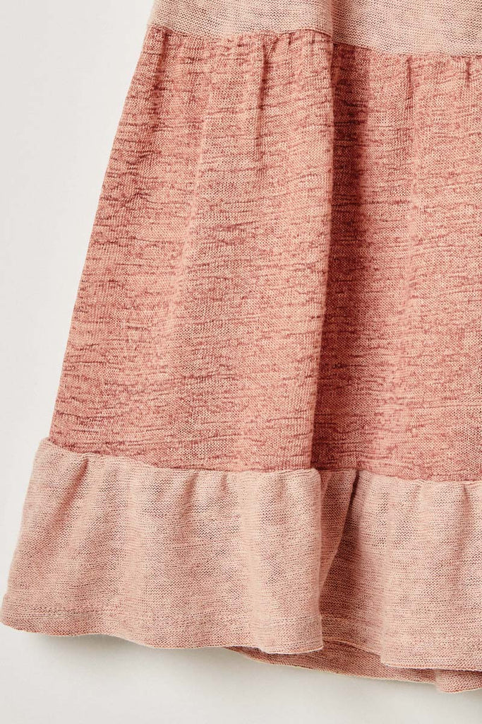 G9242-PINK Knit Tiered T-Shirt Mini Dress Front Detail