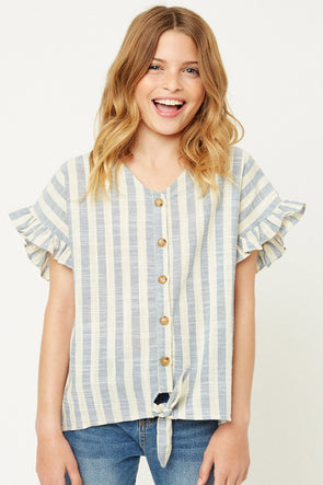 Blue Stripe Linen Button-Down Top Front