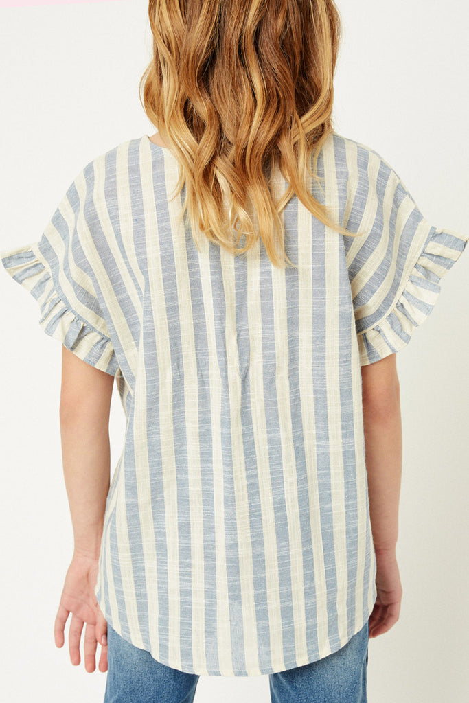 G9275-BLUE Stripe Linen Button-Down Top Back