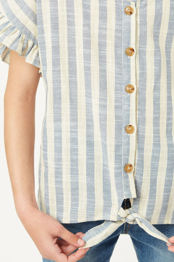 G9275-BLUE Stripe Linen Button-Down Top Front Detail
