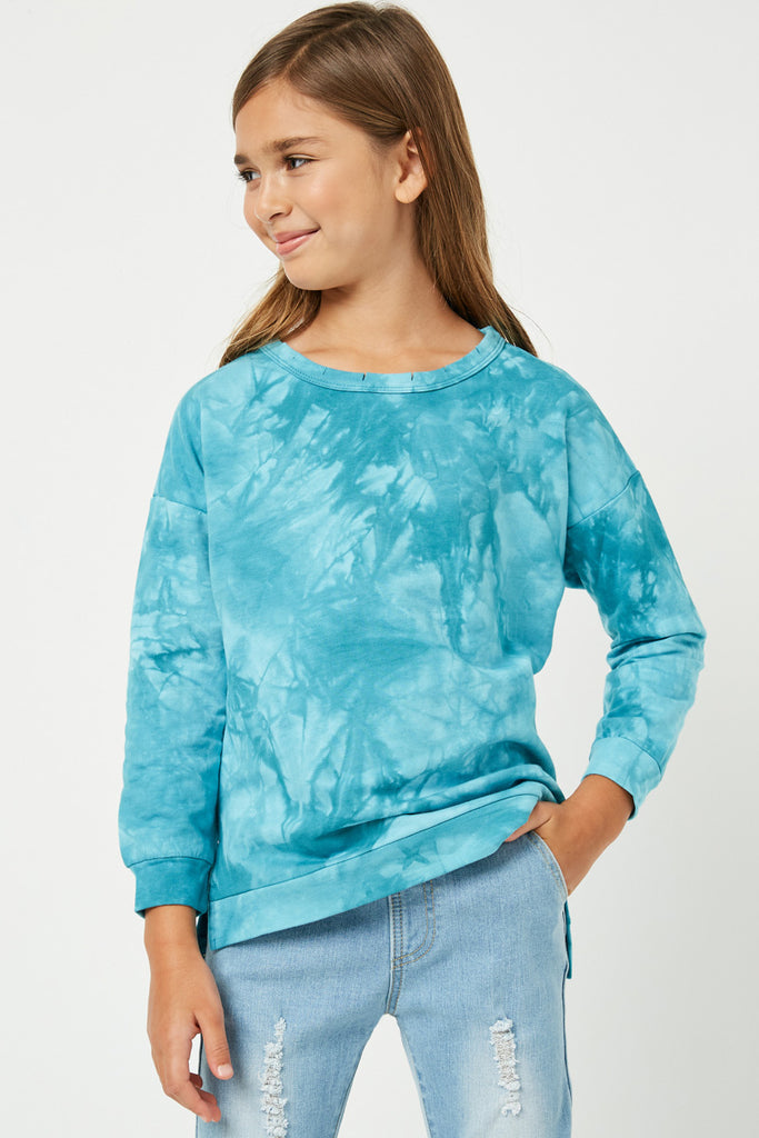GJ1257 Jade Girls Distressed Crew Neck Knit Top Front