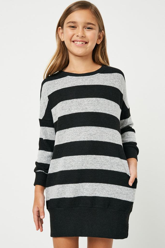 GJ3015 Black Grey Girls Stripe Soft Knit Mini Dress Front