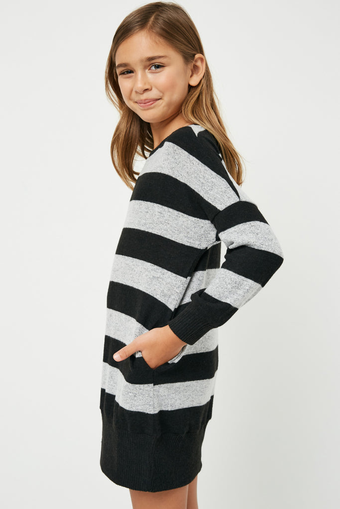 GJ3015 Black Grey Girls Stripe Soft Knit Mini Dress Side