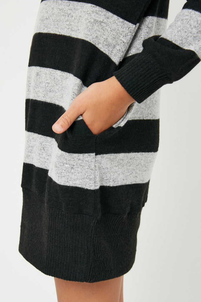 GJ3015 Black Grey Girls Stripe Soft Knit Mini Dress Detail