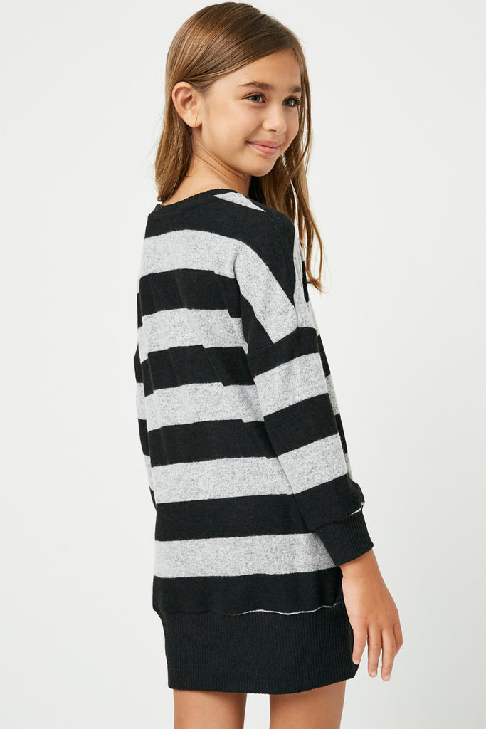 GJ3015 Black Grey Girls Stripe Soft Knit Mini Dress Back