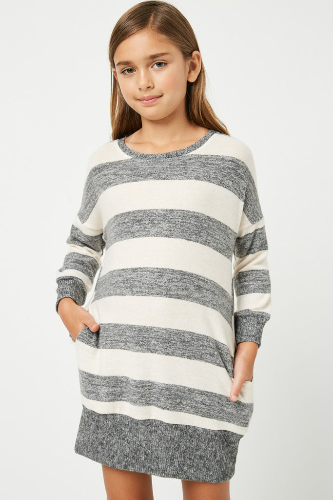 GJ3015 Taupe Grey Girls Stripe Soft Knit Mini Dress Front