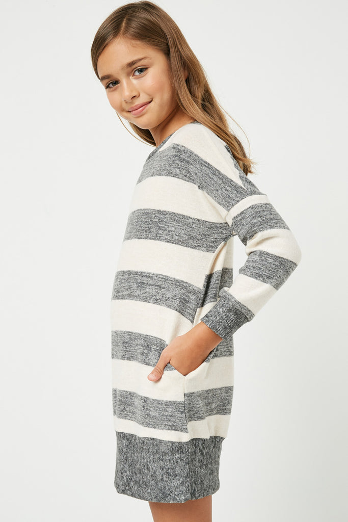 GJ3015 Taupe Grey Girls Stripe Soft Knit Mini Dress Side