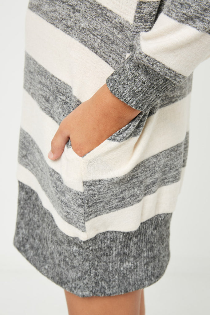 GJ3015 Taupe Grey Girls Stripe Soft Knit Mini Dress Detail