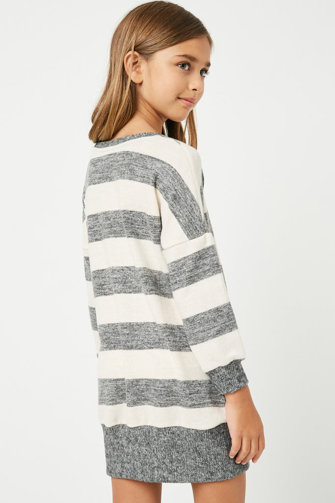 GJ3015 Taupe Grey Girls Stripe Soft Knit Mini Dress Back