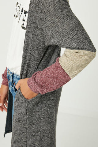 Gj3043 Charcoal Girls Color Block Sleeve Ribbed Knit Long Cardigan Detail