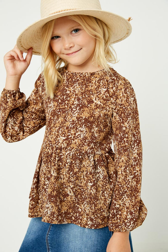 GJ3142 Brown Girls Ditsy Print Long Sleeve Babydoll Top Front