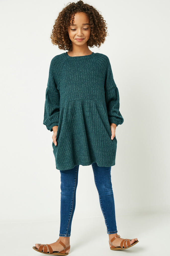GJ3172 Hunter Green Girls Ribbed Raglan Long Sleeve Mini Dress Full Body