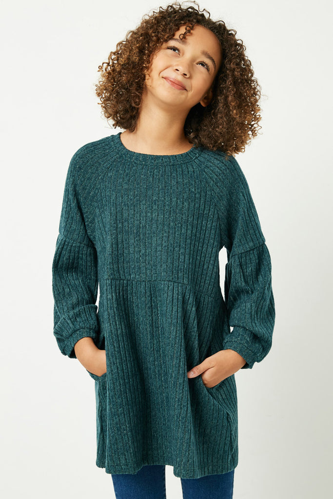 GJ3172 Hunter Green Girls Ribbed Raglan Long Sleeve Mini Dress Front