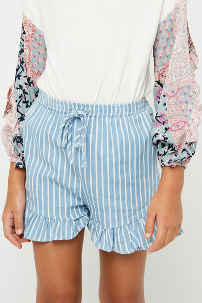 Denim Stripe Chambray Denim Drawstring Short Front