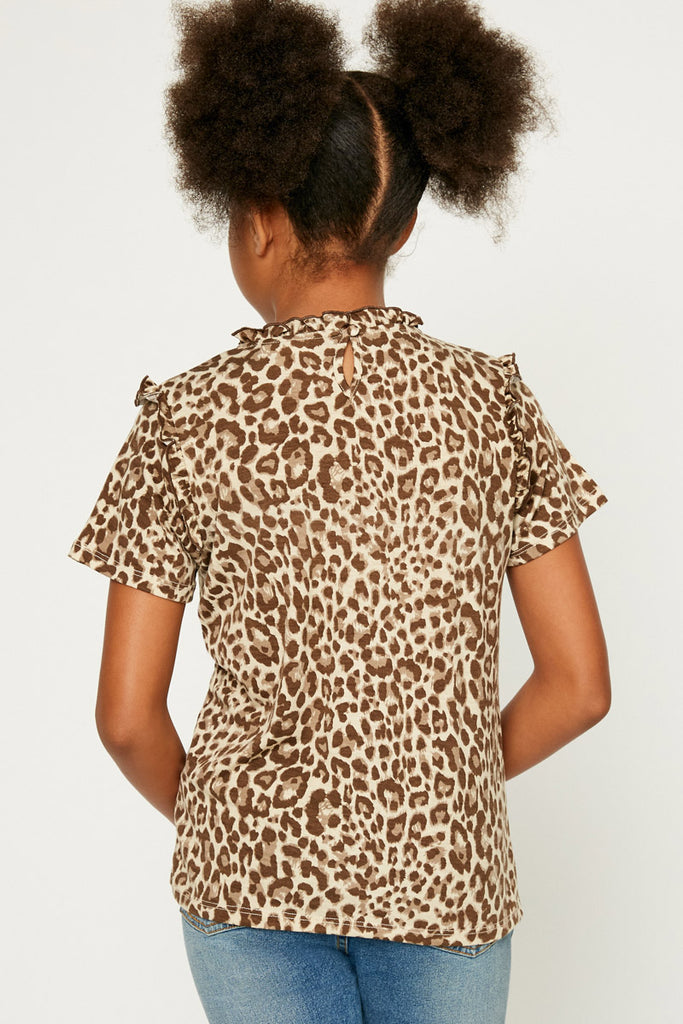 GY1083-Taupe Leopard Ruffle High Neck Top Back