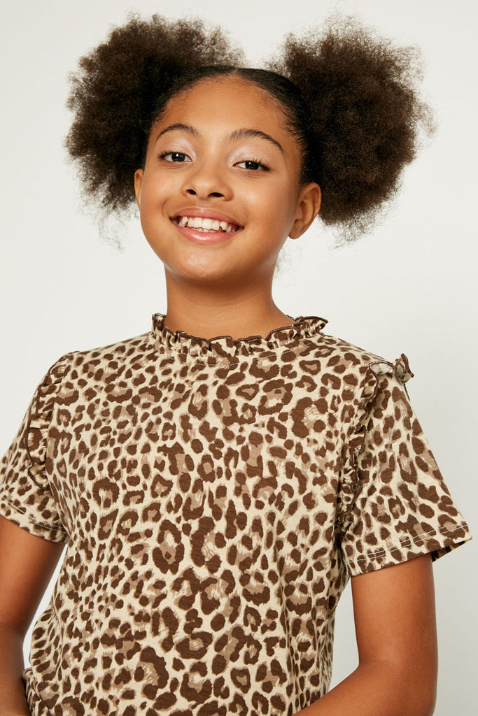 GY1083-Taupe Leopard Ruffle High Neck Top Front Detail