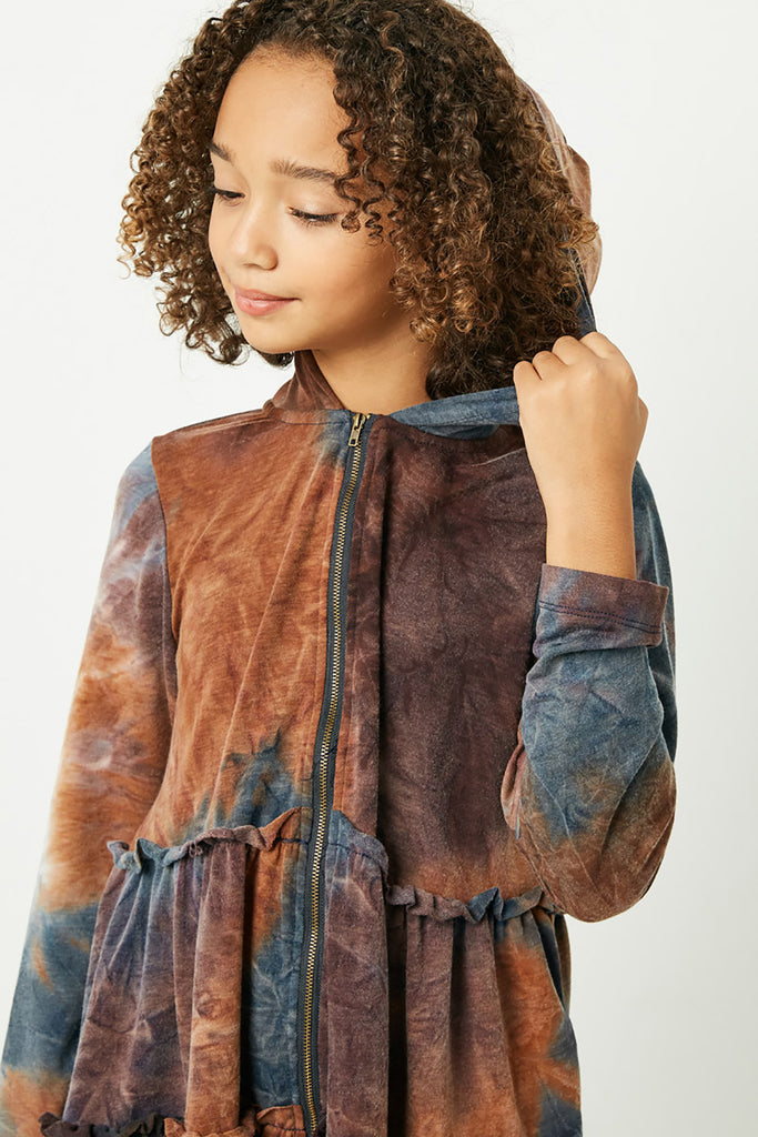 GY1152 Rust Mix Girls Long Sleeve Baby Doll Zip Up Hoodie Close Up