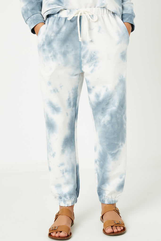 GY1331 Blue Girls Tie Dye Knit Joggers Close Front