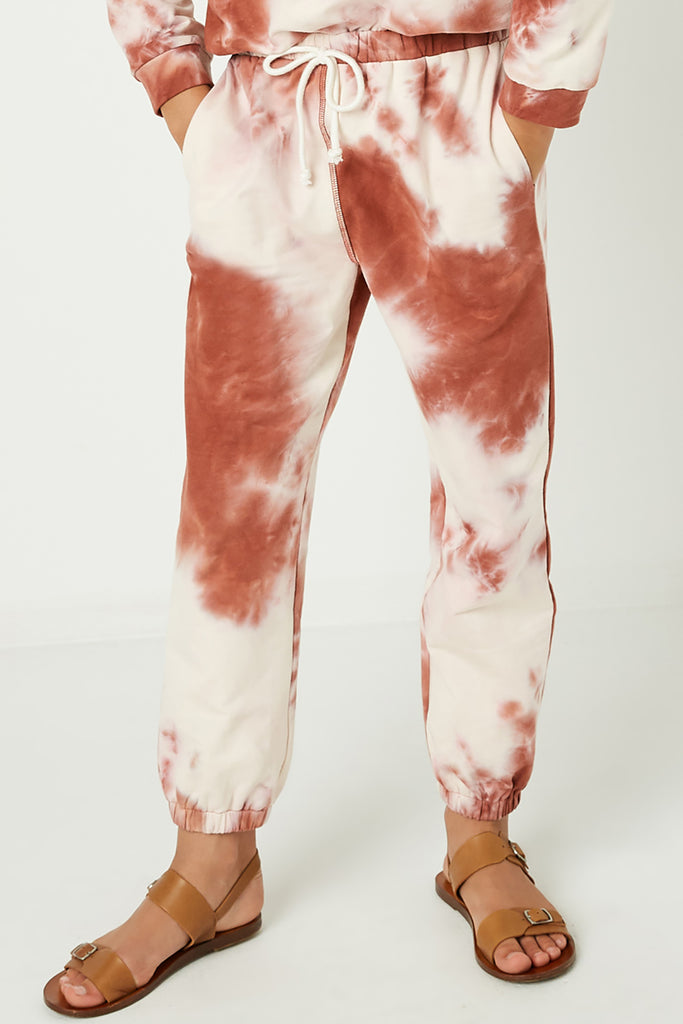 GY1331 Rust Girls Tie Dye Knit Joggers Front